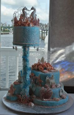 Coral reef cake idea...Like the sugar crystals