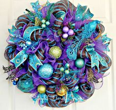 Christmas Wreath Peacock Wreath Purple by PataylaFloralDesigns