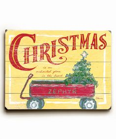 Look at this Christmas Wagon Wood Wall Sign on #zulily today!