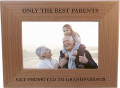 Only The Best Parents Get Promoted To Grandparents - Wood Picture Frame Holds 4x6 Inch Photo - Great Christmas, Father's Day, Mother's Day Gift For Parents -- You can find more details by visiting the image link. (This is an affiliate link and I receive a commission for the sales)