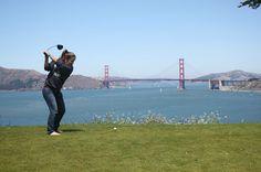 Hitting golf balls into San Francisco Bay