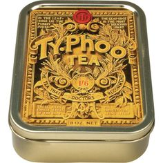 This is a picture of an antique TyPhoo tea tin. This brand of tea is a favourite in England and comes in many different flavours and kinds. For example, you can buy it loose leaf, in tea bags, flavoured, unflavoured or instant and many more.