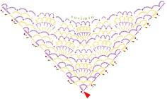 "SusiMiu | Patrón de Chal Triangular de ganchillo "" 9 de Junio"" Crochet Blouse, Crochet Scarves, Crochet Shawl, Crochet Yarn, Crochet Diagram, Filet Crochet, Crochet Patterns, Crochet Triangle, Love Crochet"