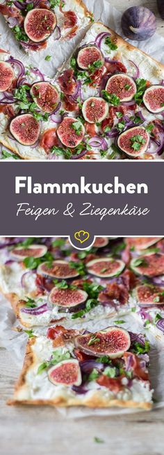 Tarte flambée with goat cheese and Flammkuchen mit Ziegenkäse und Feigen The recipe for tarte flambée with figs and goat cheese and many other delicious recipes can be found in Springlane magazine. Healthy Eating Tips, Healthy Snacks, Healthy Recipes, Delicious Recipes, Veggie Recipes, Snack Recipes, Soul Food, Food Inspiration, Carne