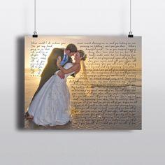 Wedding Photo with Song Lyrics PRINT - Wedding Song First Dance Wedding Vows - Unique Wedding Anniversary Gift - Wedding Memento Inexpensive Wedding Favors, Unique Wedding Favors, Unique Weddings, Gift Wedding, Wedding Ideas, Wedding Song Lyrics, Wedding Songs, Wedding Stuff, Wedding Shower Favors