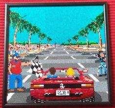 Sega Outrun Framed Pixel Bead Art. 12 inch x 12 inch. 15,376 Mini Beads. by PixelBeadPictures on Etsy