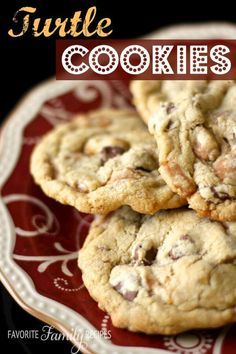 The chocolate chips, pecans, and caramel bits are a winning combination in these Turtle Cookies! Eat warm out of the oven with a big glass of cold milk!