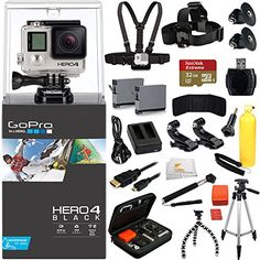 GoPro HERO4 Black + EVERYTHING YOU NEED Accessory Kit. Inlcudes SanDisk Extreme 32GB Memory Card + Chest Strap + Head Starp + 2 Extended Life Replacement Batteries + More