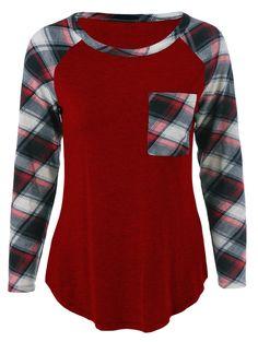 Single Pocket Plaid Print Sleeve T-Shirt