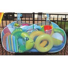 Pool Toy Storage, Pool Float Storage, Above Ground Pool Decks, In Ground Pools, Pool Organization, Piscine Diy, Swimming Pool Toys, Swimming Pool Decorations, Swimming Pool Accessories
