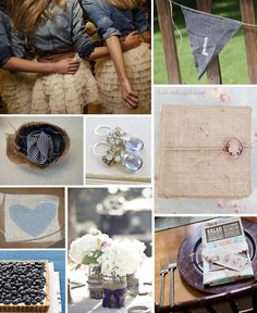 Country denim wedding wedding decor fruit flowers hearts country