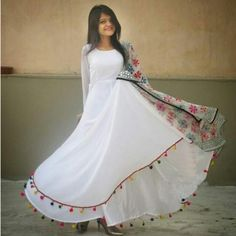 Georgette Lace Work Printed White Semi Stitched Long Anarkali Suit - 1083