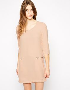 Vila Vissy 3/4 Sleeve V Neck Shift Dress