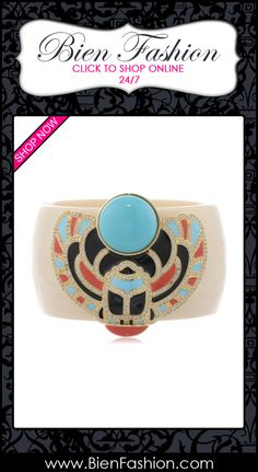 "Bold Bracelets | Bold Jewelry | Chunky Jewelry | Fashion Accessories | Bien Fashion | Bien | Fashion | BF | Chunky Bracelets | Pulseras | Pulceras | Comprar Ahora | SHOP NOW ♥ CZ by Kenneth Jay Lane ""Trend"" 6 cttw Scarab Cuff Bracelet, 2.19"" $320.42"