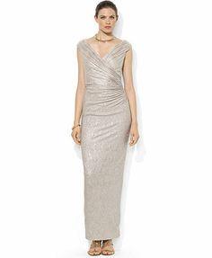 Lauren Ralph Lauren Dress, Sleeveless Metallic Ruched Gown
