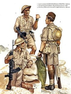 British Army North Africa.  Small note, the kit bag of figure three has the name M Windrow stencilled on it.  Martin Windrow was the original publisher, and later editor, of Osprey books.