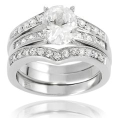 Tressa cubic zirconia bridal-style ring  Sterling silver jewelry Click here for ring sizing guide