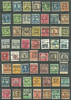 US Stamp Collection Of 66 Definities- mix 20¢, 5¢ old Postage Due, Pre-Cancel