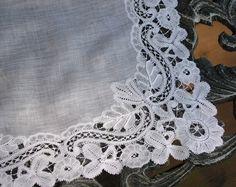 Em's Heart Antique Linens -Antique Linen Belgian Duchesse Lace Handkerchief