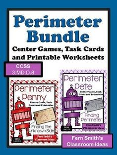 Perimeter Mega Math Pack - Discounted Bundle For 3.MD.D.8 100 Pages! #Free Preview Includes 8 FREE Colored Perimeter Task Cards for YOU to try in YOUR classroom! #TPT $Paid