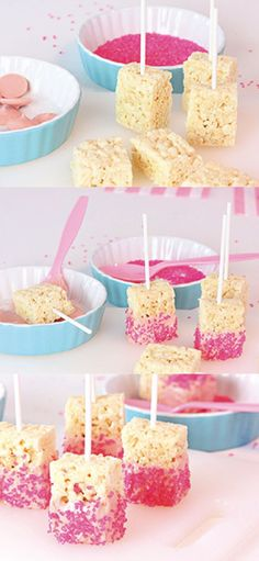 Looking for something fun and easy to share on Valentine's Day? These little Rice Krispies Treats® Pops are even easy to make with your kids since they can help decorate each dessert with pink sprinkles! (fun and easy diys valentines day) Rosa Snacks, Pink Snacks, Pink Treats, Sweet Treats, Baby Shower Food For Girl, Baby Shower Snacks, Baby Shower Desserts, Baby Shower Cakes, Reis Krispies