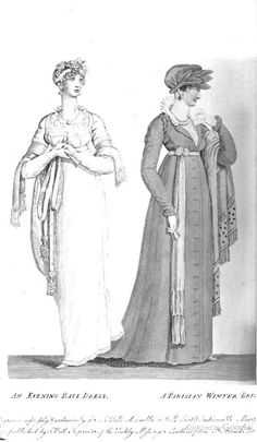 ball dress.plain crape over satin slip. plain back & sleeves, quartered front. white spangled velvet ribband trim at bottom,waist and sleeves with . white satin sash tied in long bows. High gathered tucker in Brussels lace.  2. Parisian costume. promanade coat in pale olive soft Circassian cloth .Buttoned down front, formed high in the back. open round lappels, double roll trimming at armhole and wrist: full lace tucker, double demi ruff a la Qn Elizabeth plaited in Vandyke.sash. Equestrian…