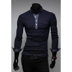 $11.01 Casual Style Stand Collar Pockets Design Long Sleeves Polyester Men's Polo Shirt