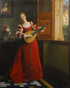 WOMAN BY A WINDOW WITH MANDOLIN By Pierre Charles Comte