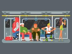 Subway with people flat design. Transportation train metro and city transport public, vector illustrationVector files, fully editable.