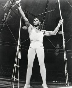 Burt Lancaster in Trapeze - he joined a circus in real life. He said it helped him keep disciplined, and in shape most of his life. Which we can see here. Age: 43.