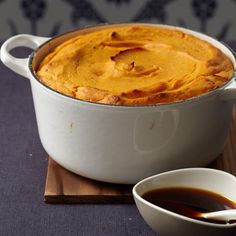 Sweet Potato Soufflé with Molasses Sauce   This dish is a French take on an American classic. You can serve it without the molasses sauce for a lighter and less sweet version.