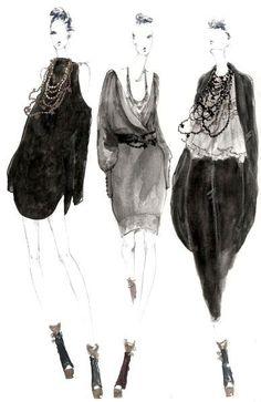 illustration - myrtle quillamor www. Illustration Inspiration, Illustration Mode, Fashion Illustration Sketches, Fashion Sketchbook, Fashion Design Sketches, Fashion Drawings, Moda Fashion, Fashion Art, New Fashion