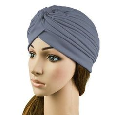 Stretchy Turban Head Wrap Band Sleep Hat Chemo Bandana Hijab Pleated Indian Cap