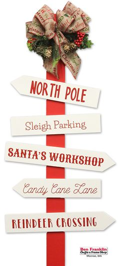 This easy-to-make DIY North Pole Directional Sign would add a pop of color to your yard, patio or even your living room! Details on our blog: https://benfranklincraftsmonroe.blogspot.com/2016/11/diy-north-pole-directional-sign.html (Ben Franklin Crafts, Monroe, WA)