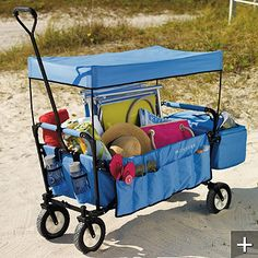 Folding mobile wagon...great for the long days at the beach! Much nicer than toting all that stuff by hand.