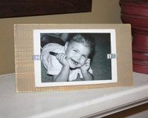 Picture Frame - Distressed Wood - Holds a 4x6 Photo - Stand Up - Khaki and White