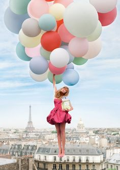 Colorful Balloons in Paris #ridecolorfully #katespadeny #vespa