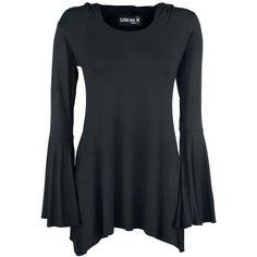 Langermet t-skjorte fra Gothicana by EMP:    - flaggermusermer  - spisse sider  - stor hette