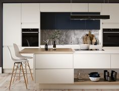 Elegant, modern kitchen with a monochrome raw stone splashback, pine wood flooring and cream handless doors. Features modern Miele and Neff appliances, Eames chairs and Broste ceramics. CGI 2017, design and production by www.pikcells.com