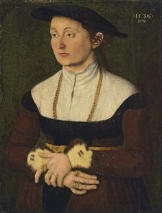 1536 Monogrammist H.W. - Portrait of a lady in a red dress with fur cuffs, a cap, and a gold chain