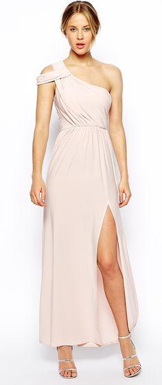 ASOS blush one shoulder drape gown found at Nudevotion.com
