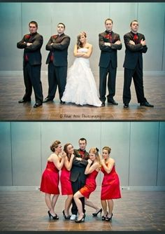 Bride posing with the groomsmen and the Groom with the bridesmaids, I love this...