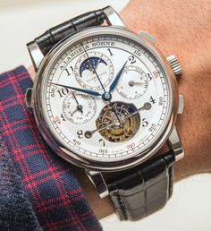 A. Lange & Söhne Tourbograph Perpetual 'Pour Le Mérite' €480,000 , LE of 50 pieces in platinum, with around 1300 parts in total. Read on our site:http://www.ablogtowatch.com/a-lange-sohne-tourbograph-perpetual-pour-le-merite-watch/