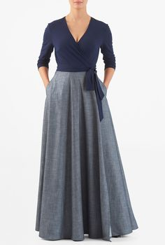 Our mixed media maxi wrap dress is styled with a surplice cotton knit bodice and a cross-over cotton chambray skirt for a modern update on a classic. Maxi Wrap Dress, Dress Skirt, Elegant Maxi Dress, Chambray Skirt, Gowns With Sleeves, Indian Designer Wear, The Dress, Skirt Outfits, African Fashion