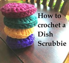 How to Crochet a Dish Scrubbie. I have had so many requests for these dish fabulous dish scrubbies, they work so well! Make these for family and friends, enjoy! Check out the Magic Cirlce tutorial here . Crochet Kitchen, Crochet Home, Knit Or Crochet, Learn To Crochet, Crotchet, Knitting Projects, Crochet Projects, Sewing Projects, Sewing Tips