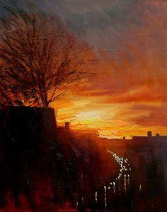 Sunset Street by Chin H Shin Oil ~ 20 x 16