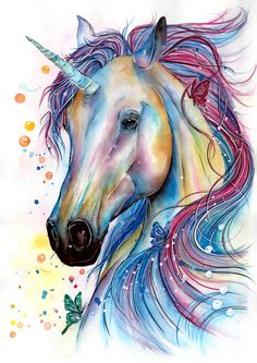 "Soft colours and floating bubbles set the tone for this magical piece. Each element inspired by dreams and fantasy.I spent a few days building up many layers of watercolour to create subtle and gradual shading. For the finishing touches I used ink and fluid acrylic.""A unicorn is just a horse with a point of view"" Ron Sexmith"