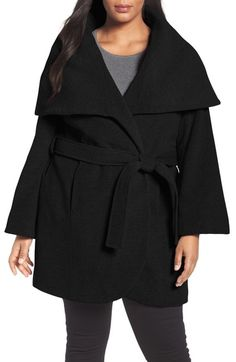 Tahari Marla Cutaway Wrap Coat with Oversize Collar available at #Nordstrom