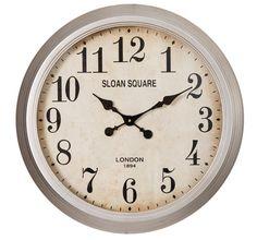 Reloj de Pared Plata Crema en Metal 8 x 60 x 60 cm