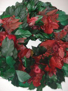 Salal Wreath Autumn Wreath Pomegranates  Natural Wreath  Elegant Wreath  Holiday Wreath  Lemon Leaf Wreath  Indoor Wreath  Home Decor by donnahubbard on Etsy